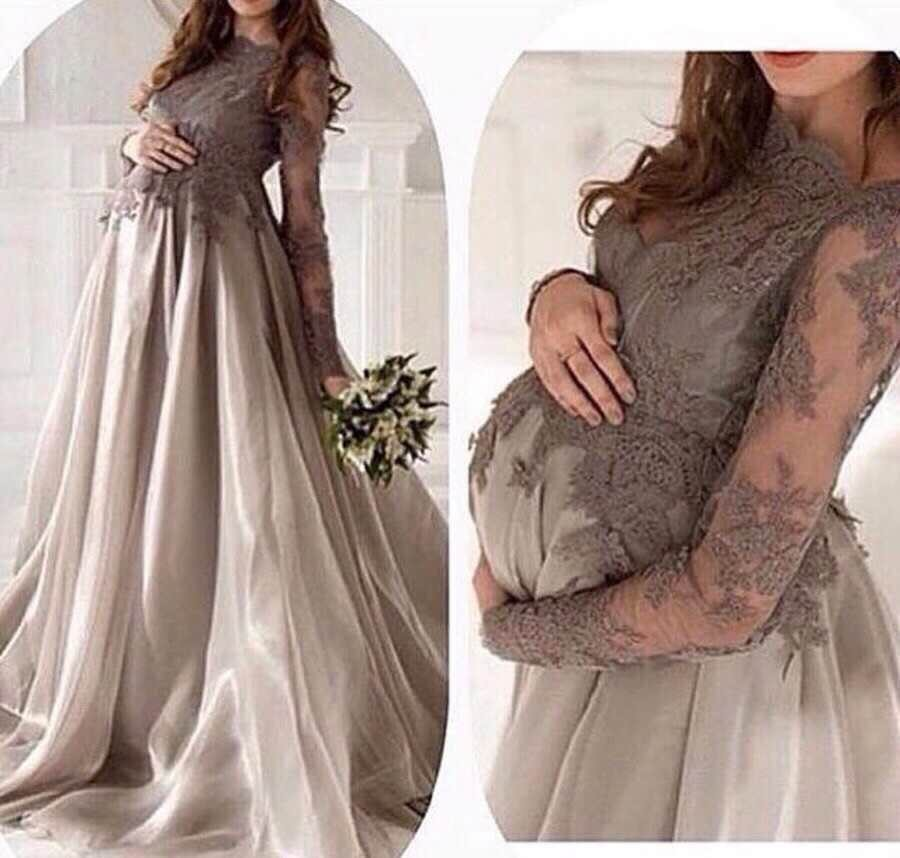 Élégant manches longues Empire maternité robes de soirée pour les femmes enceintes 2019 Applique dentelle longue robe de bal robes formelles personnalisé