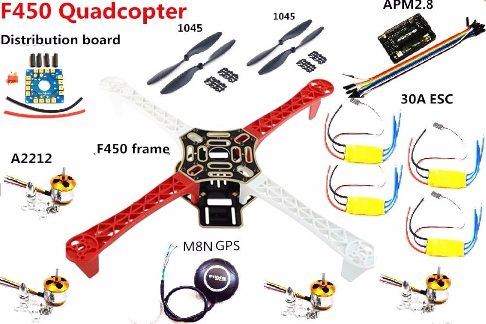 F450 450 kit de cadre MultiCopter quadrirotor APM 2.8 w/6 M/7 M/M8N GPS A2212 moteur 30A ESC pour RC quadrirotor