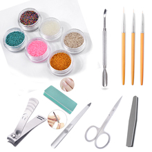 Pandahall Nail Micro Caviar Beads Stainless Steel nail cuticle Pusher Form Manicure art tool set