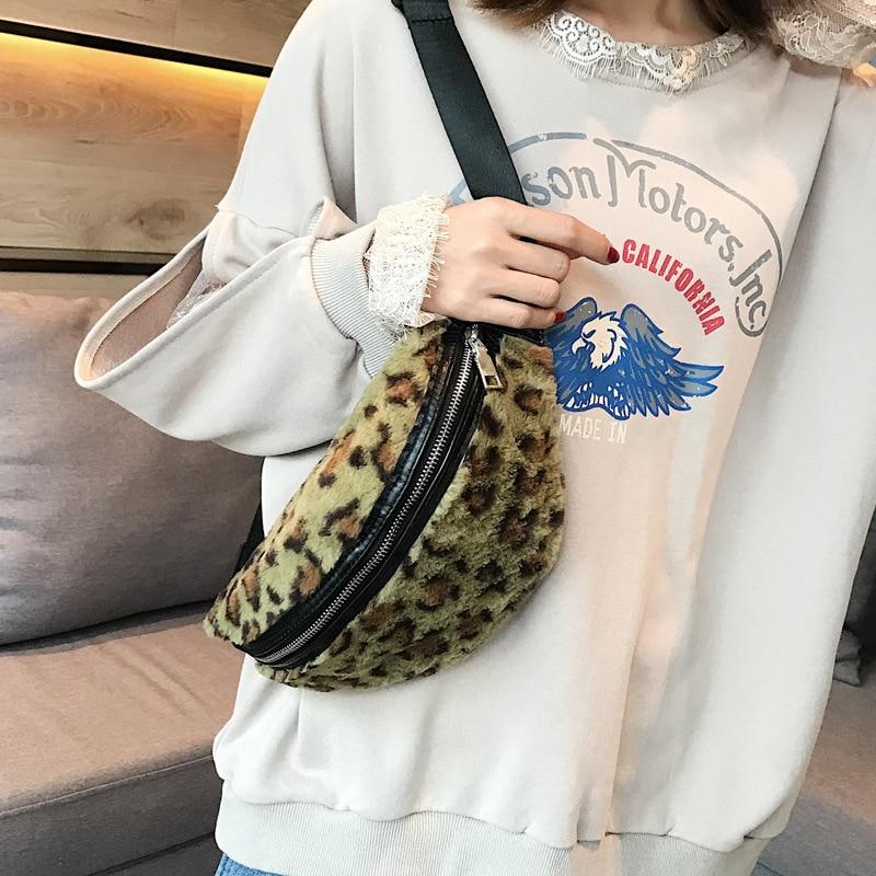 f95c46c5c5 LEFTSIDE Leopard Plush Funny Packs For Women 2018 Faux Fur Waist Bags Lady  Winter Belt Bag Woman Small Chest Bags Shoulder Bag