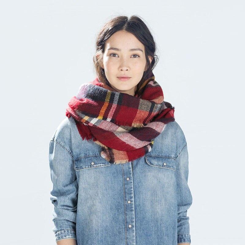 Luxury Brand Kallove halsduk za vinter stor fyrkant Scarf Plaid Women - Kläder tillbehör - Foto 5
