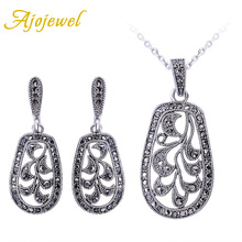 Ajojewel Brand Fashion Vintage Jewellery Sets Silver Plated Retro Black CZ Jewelry Set With Necklace Earrings 2016