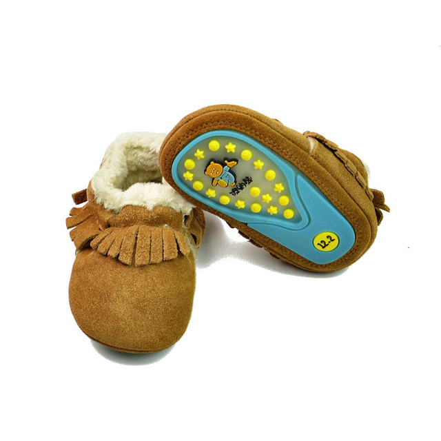 New Winter Genuine Leather Baby Moccasins Plush Lining Baby Boy Shoes Skidproof Fringe Toddler Girl Shoes Brown