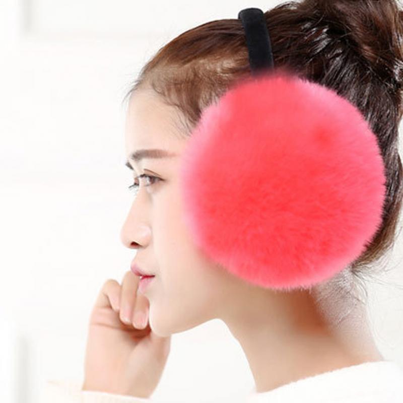 Winter Women Warm Rabbit Fur Earmuffs Girl's Earlap Ladie's Plush Ear Muff