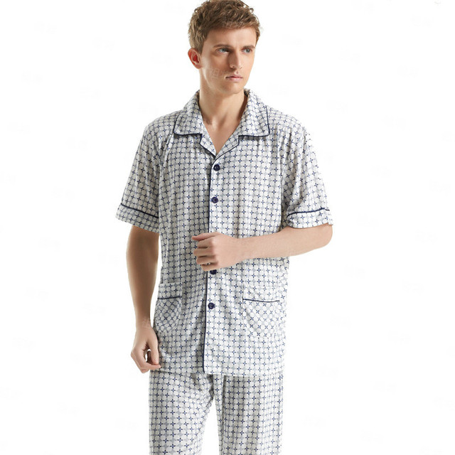 New Arrival Geometric Printed Pajama Sets Plus Size Short-Sleeved Cotton Pyjamas Sleep&Lounge Sexy Mens Loungewear Casual wear