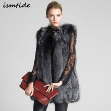 Fur Vest Coat Women's Winter Faux Fur Vest Coat Silver Fox Hair Long Colete Feminino Lengthen Plus Size S/4XL Women Jacket Gilet()