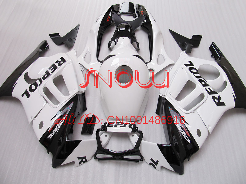 White/Black for HONA CBR600-F3 97-98 CBR600 F3 1997-1998 CBR600F3 600F3 97 98 1997 1998 body work 2gifts
