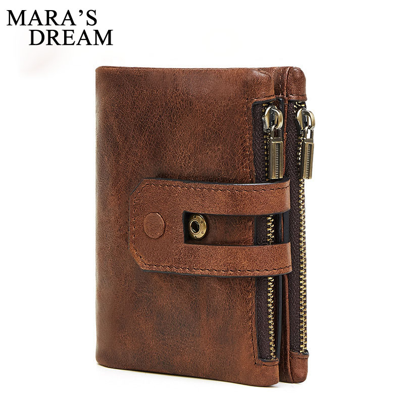 Maras Dream Unisex Wallet Women Men Leather Genuine Vintage Coin Purse Zipper Men Wallets Small Perse Solid RFID Card Holder