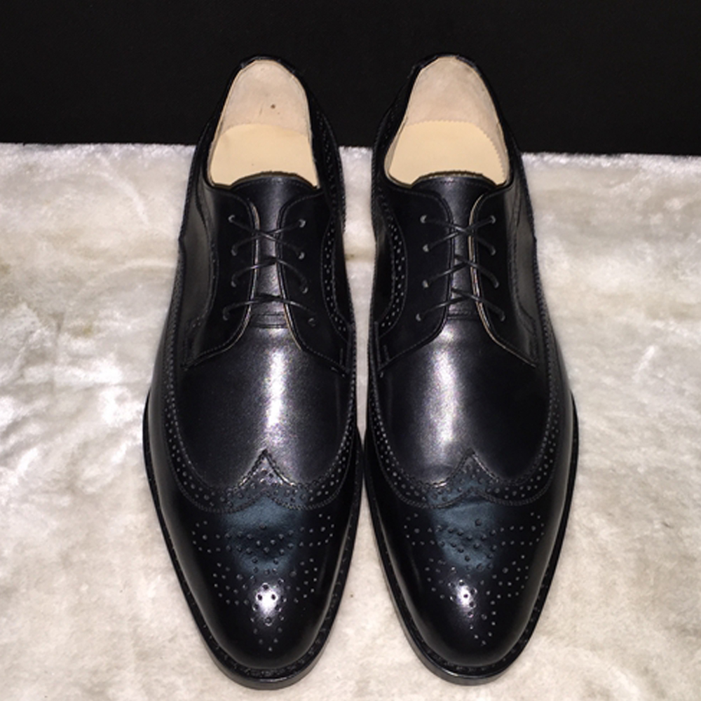Luxury Mens Black Wingtip Dress Shoes Elegant Male Wedding