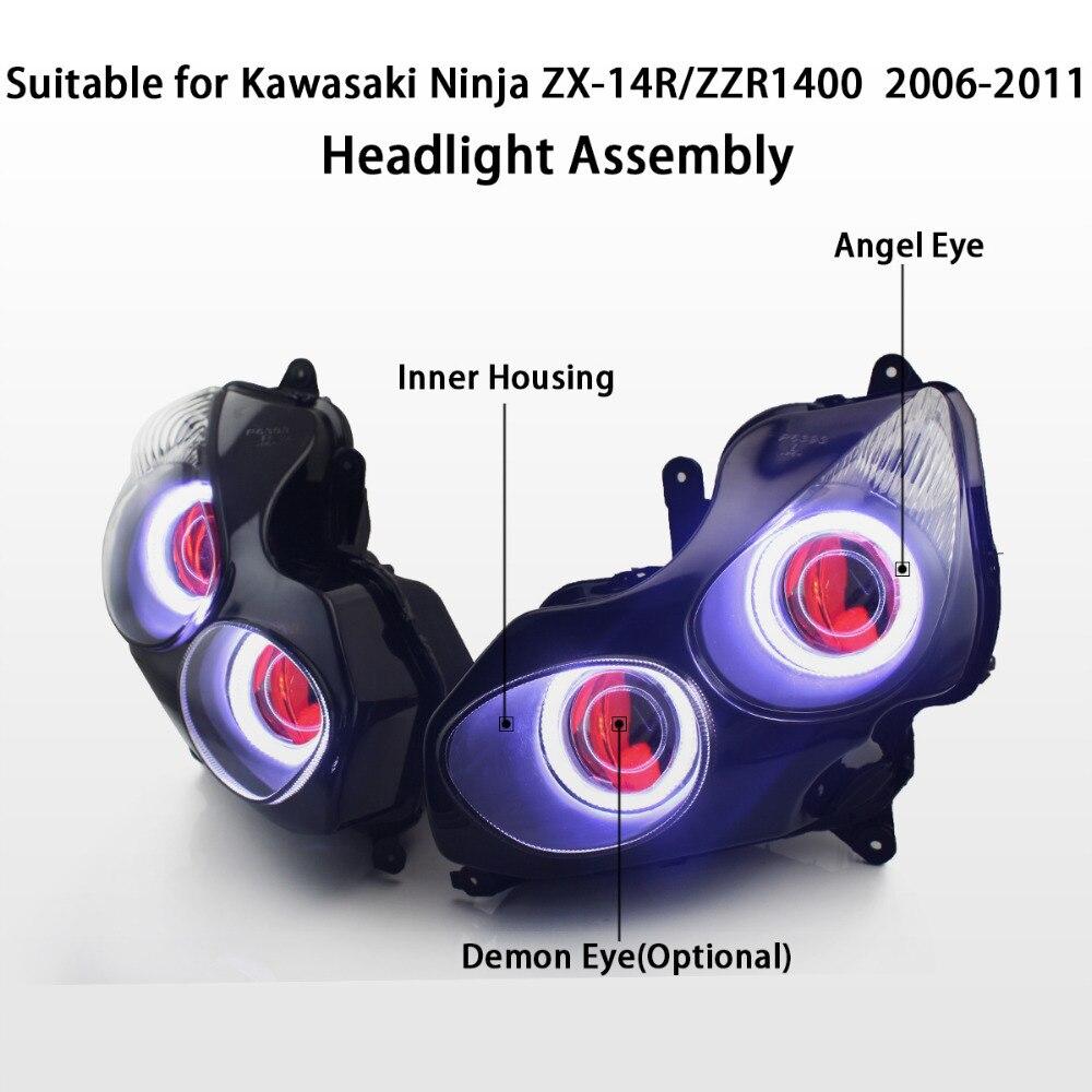 KT Headlight for Kawasaki Ninja ZX 14R/ZZR1400 ZX14R 2006 2011 LED Angel  Eye Red Demon Eye Motorcycle HID Projector Assembly 09 on Aliexpress.com |  Alibaba ...