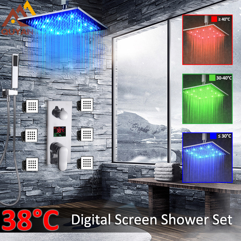 Quyanre Digital Shower Faucets Set Bathroom Concealed LED Shower Head 3-Function Mixer Tap 6pc Massage SPA Jets In Wall Bathroom