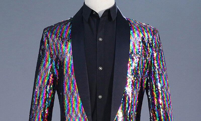 Erkek Kıyafeti'ten Blazerler'de Erkek Gökkuşağı Değişen Renk Pullu Şal Yaka Uzun Blazer Ceket Parti Sahne Şarkıcı Ana Gece Kulübü Takım Elbise Blazer Kostüm Homme'da  Grup 3