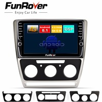 Funrover 8 core android 8.1 2 din car dvd multimedia For Skoda Octavia 2008 2013 A 5 A5 Yeti Fabia gps navigation Split screen