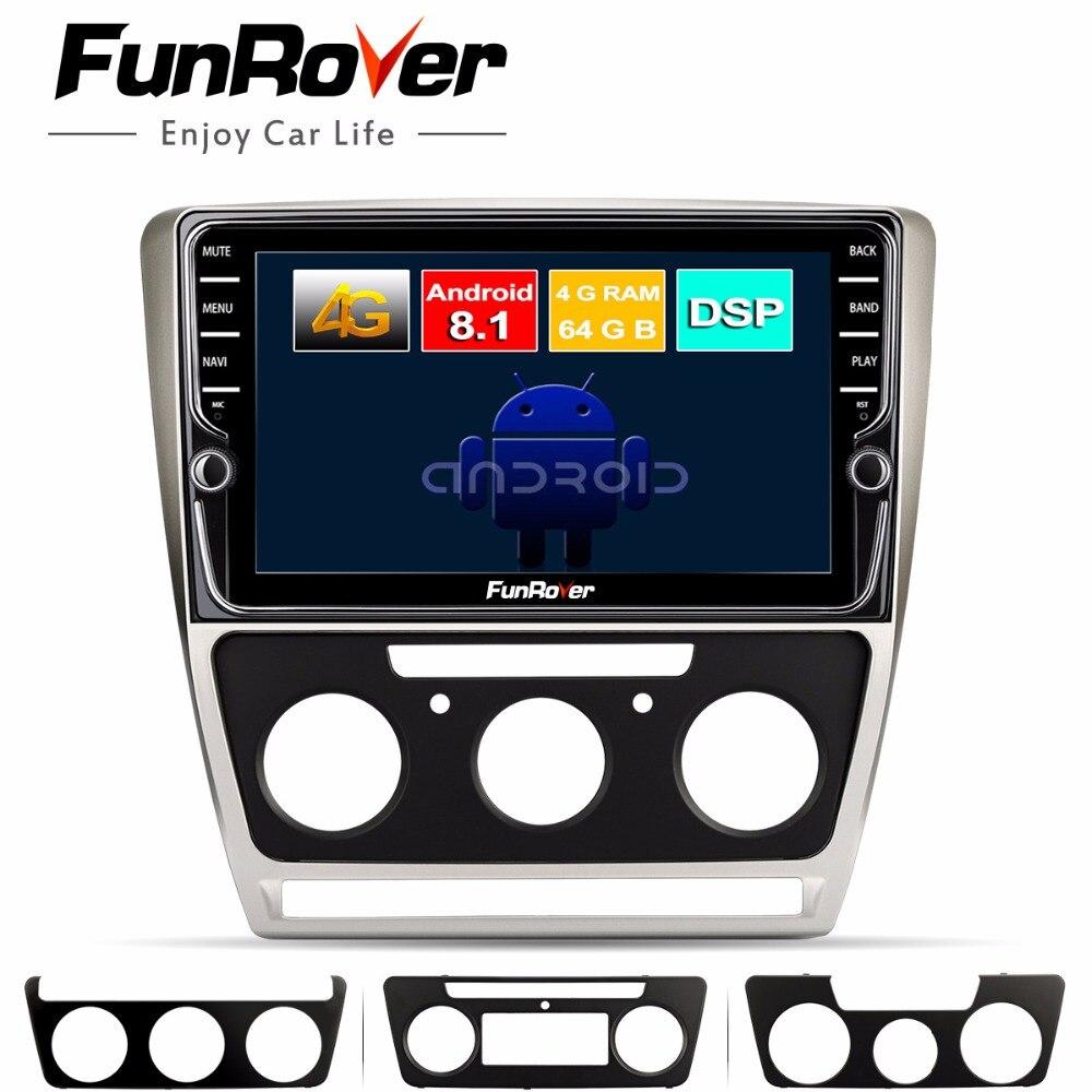 Funrover 8 core android 8.1 2 din voiture dvd multimédia pour Skoda Octavia 2008-2013 A 5 A5 Yeti Fabia gps navigation écran divisé