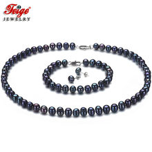 Black Natural Freshwater Pearls Fine Jewelry Sets 925 Sterling Silver for Women Classic Earrings Necklace Bracelet 6-7mm Feige