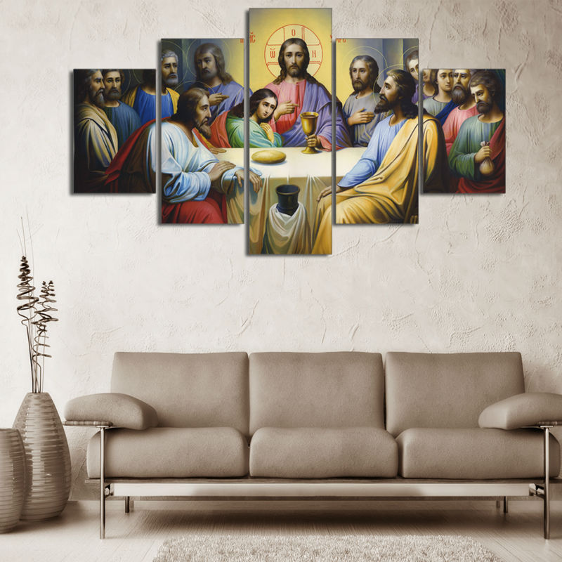 Modular Pictures HD Printed Canvas Jesus Painting Wall Art Frame 5 Pieces Last Supper Landscape Poster Living Room Decor PENGDA no frame canvas