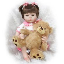 22inch Silicone New Reborn Baby Dolls Realistic Girl Fake Babies Kids bear doll Toys by NPK Collection