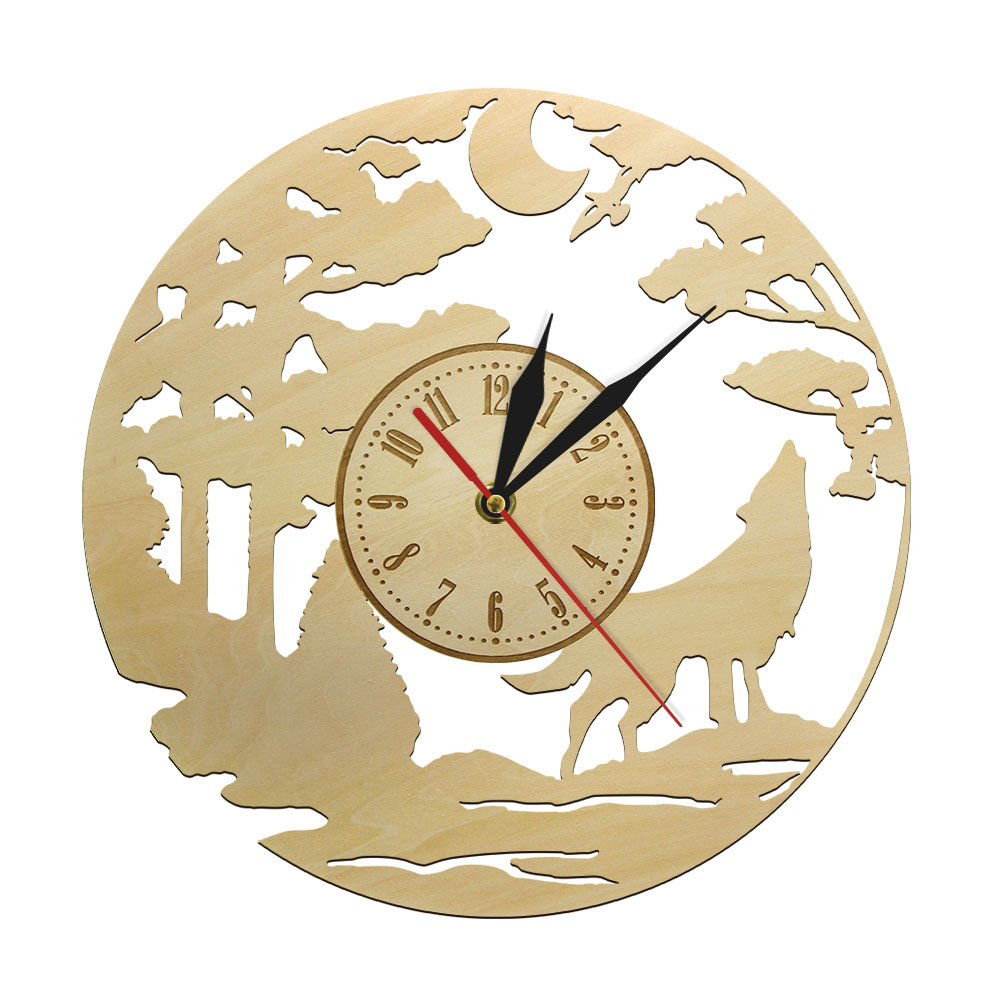 Howling Wolf at Moon Wall Art Decor Wooden Wall Clock Watch Quiet Sweep Quartz Wall Clock Wildlife Forest Wolf Wall Sign Watch