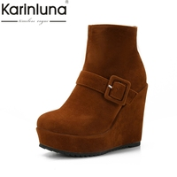 KARINLUNA 2017 Large Size 34 43 Thick Platform Women Shoes Woman Fashion Wedge High Heel Ankle