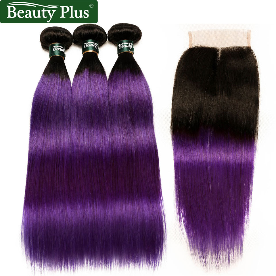 Brazilian Ombre Purple Human Hair 4 Bundles With Closure Two Tone 1B Purple Straight Hair Weave With Closure Dark Root Non-Remy