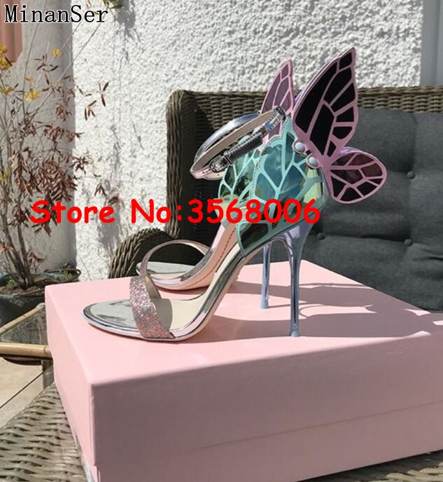 Glitter Butterfly Ankle Wrap Open Toe Sandals Shoes Multi color Classic Evening Party High Heels Shoes