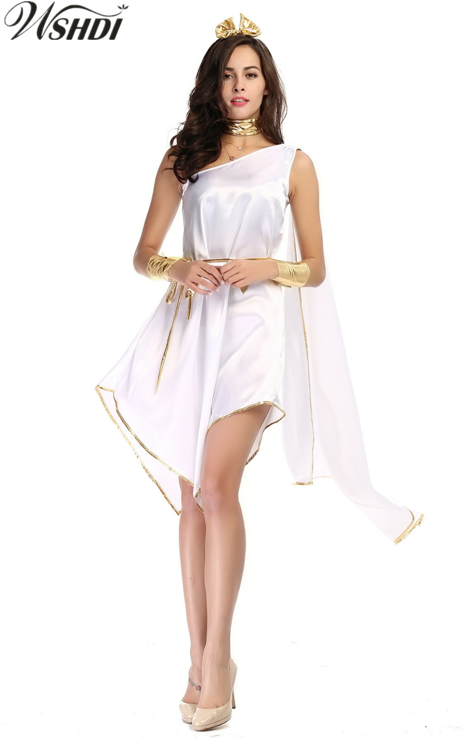 Adult Woman Halloween Costumes Greek Goddess Cosplay Clothes Set White Loose Irregular Fancy Dress for Party Carnival