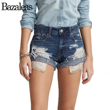 Summer Women Lace Denim Shorts Jeans