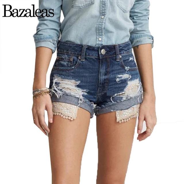 Summer Women Lace Denim Shorts Jeans