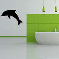 Modern Style Silhouette Dolphin Wall Paper Bathroom Home Decor Vinyl Wall Decal Sticker Black Self Adhesive