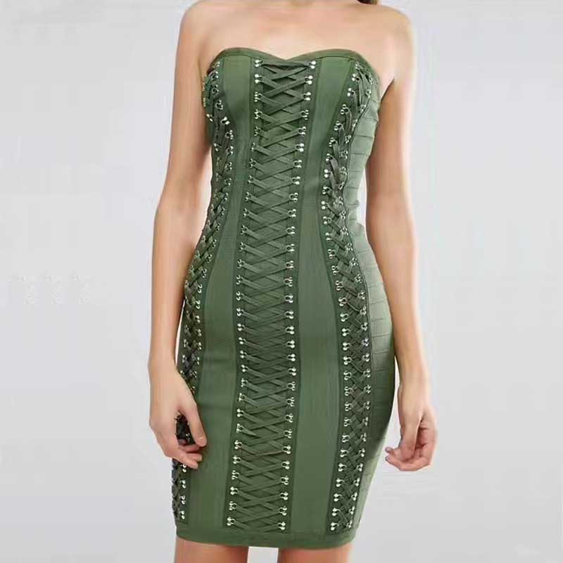 New dress Black and green Strapless dress Stretch tight Fashion mini Cocktail party bandage dress H1763
