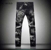 Men Ripped Skinny Biker Jeans Mens Distressed Jeans Denim Overalls Men Plus Size 28 38 3D