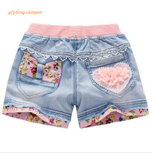 2016 summer fashion children denim shorts 100% cotton diamond sand short shorts for girls kids casual jeans shorts 4-12years