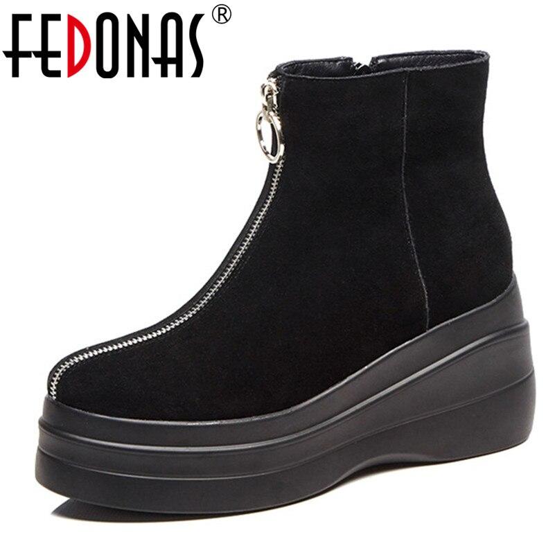 FEDONAS Punk femmes vache daim bottines compensées talons hauts Zipper dames chaussures femme qualité plates-formes Rock Party bottes courtes