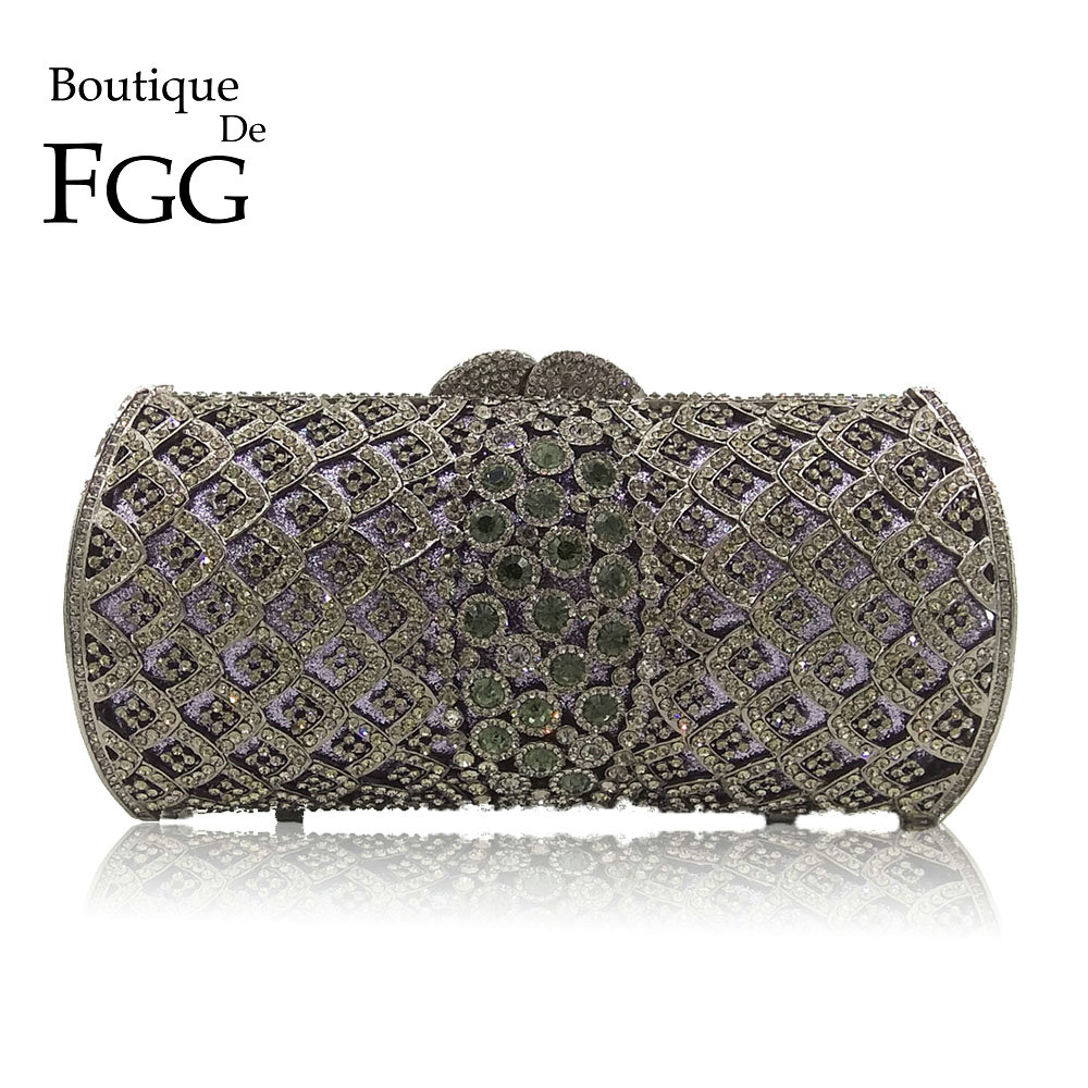 Dazzling Socialite Luxury Gray Women Crystal Clutch Evening Bags Bridal Diamond Wedding Clutches Bag Metal Hardcase