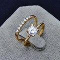 Ювелирные изделия Новый позолоченный заполнены CZ циркон палец кольцо набор свадебный подарок для женщины дамы оптовая R1373