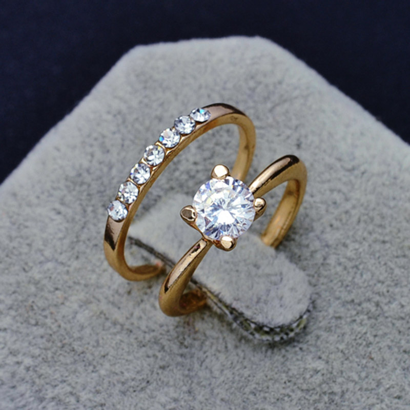 fashion jewelry new gold color cz zircon finger ring set