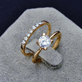 Fashion jewelry New  gold plated filled CZ zircon finger ring set wedding gift  for women ladies wholesale  R1373
