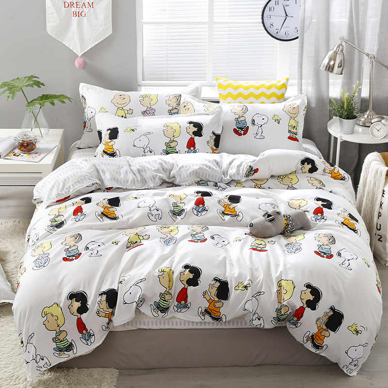 3/4pcs Happy Family Printing Bedding Set Include Duvet Cover &Sheets&Pillowcases Cover Comfortable Home Bed Set Dropshipping