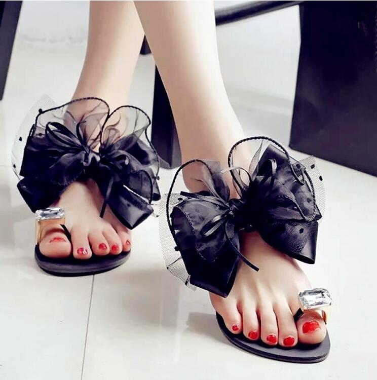 Women Sexy Flip Flop Sandals Lady Bow Rhinestone Flat Shoes Female Beach Sandals clearance 2014 unisex oqPwXt