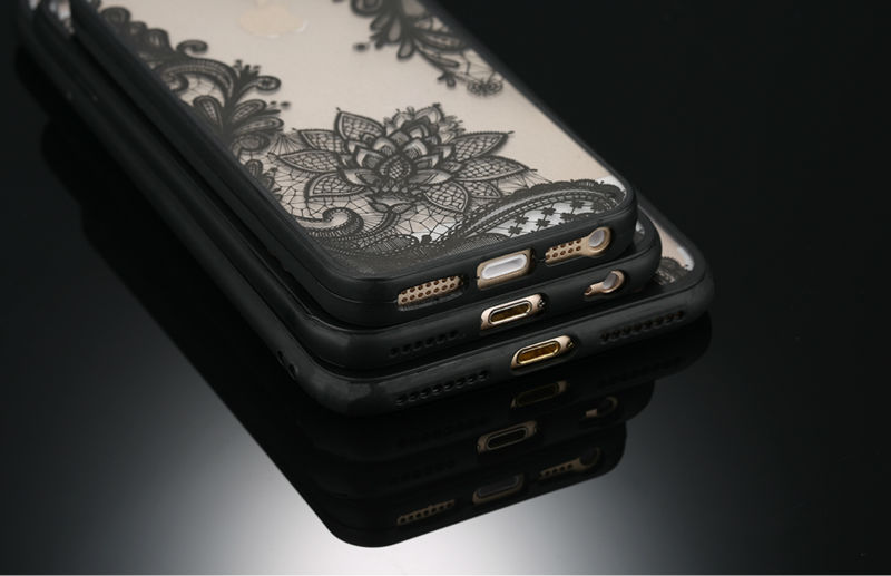 Sexy Retro Floral Phone Case For Apple iPhone 7 6 6s 5 5s SE Plus Lace Flower Hard PC+TPU Cases Back Cover Capa For iPhone7Plus 3