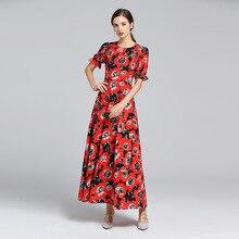 цена на New 2019 spring runway short sleeves maxi dress Chic women floral print party dress D764