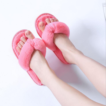 2018 new Plus Size 36-41 Winter Fashion Women Home Slippers Faux Fur Warm Shoes Woman Slip on Flats Female Fur Flip Flops c127 1