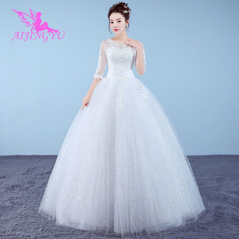 AIJINGYU 2018 Gowns Free Shipping New Hot Selling Cheap Ball Gown Lace Up Back Formal Bride Dresses Wedding Dress WK715