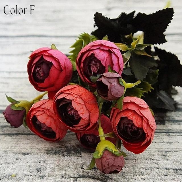 9 głowice mały jedwab sztuczny kwiaty piwonia flores fleur artificielles kamelia na boże narodzenie w domu sztuczne kwiaty do dekoracji bukiet