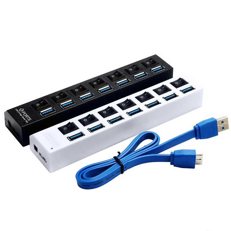 IMice usb Hub 3.0 مع محول الطاقة 4 منافذ USB 3.0 Hub سوبر سرعة USB الفاصل 7 منافذ ON/OFF التبديل الاتحاد الأوروبي التوصيل محاور لأجهزة الكمبيوتر المحمول