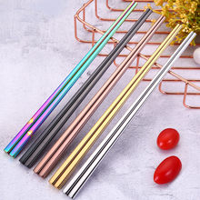 Black Chopstick 1 Pair 23.5 Cm Square Chopsticks 18/10 Stainless Steel 5 Colors Korea Sushi Colorful Chopstick(China)