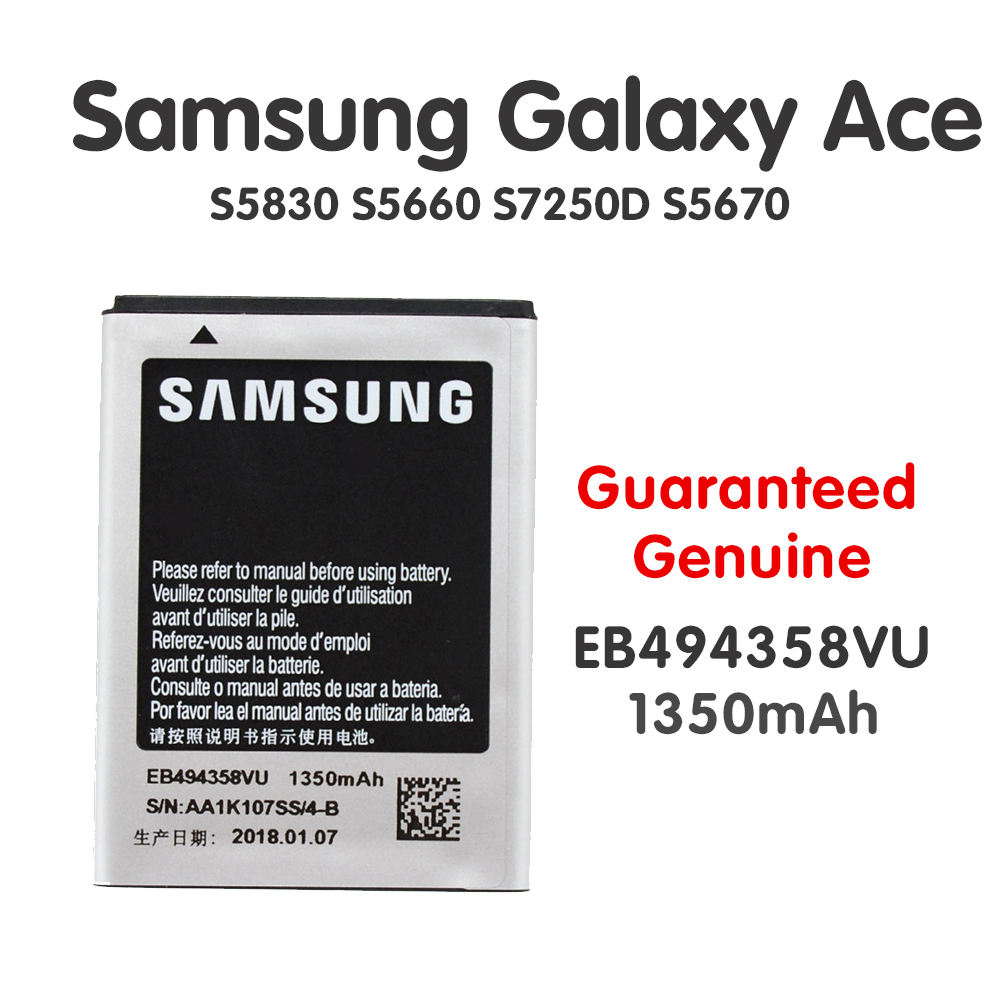 Newest Original Battery For Samsung Galaxy Ace EB494358VU S5830 <font><b>S5660</b></font> S7250D S5670 i569 I579 <font><b>GT</b></font>-S6102 S6818 <font><b>GT</b></font>-S5839i 1350mAh image