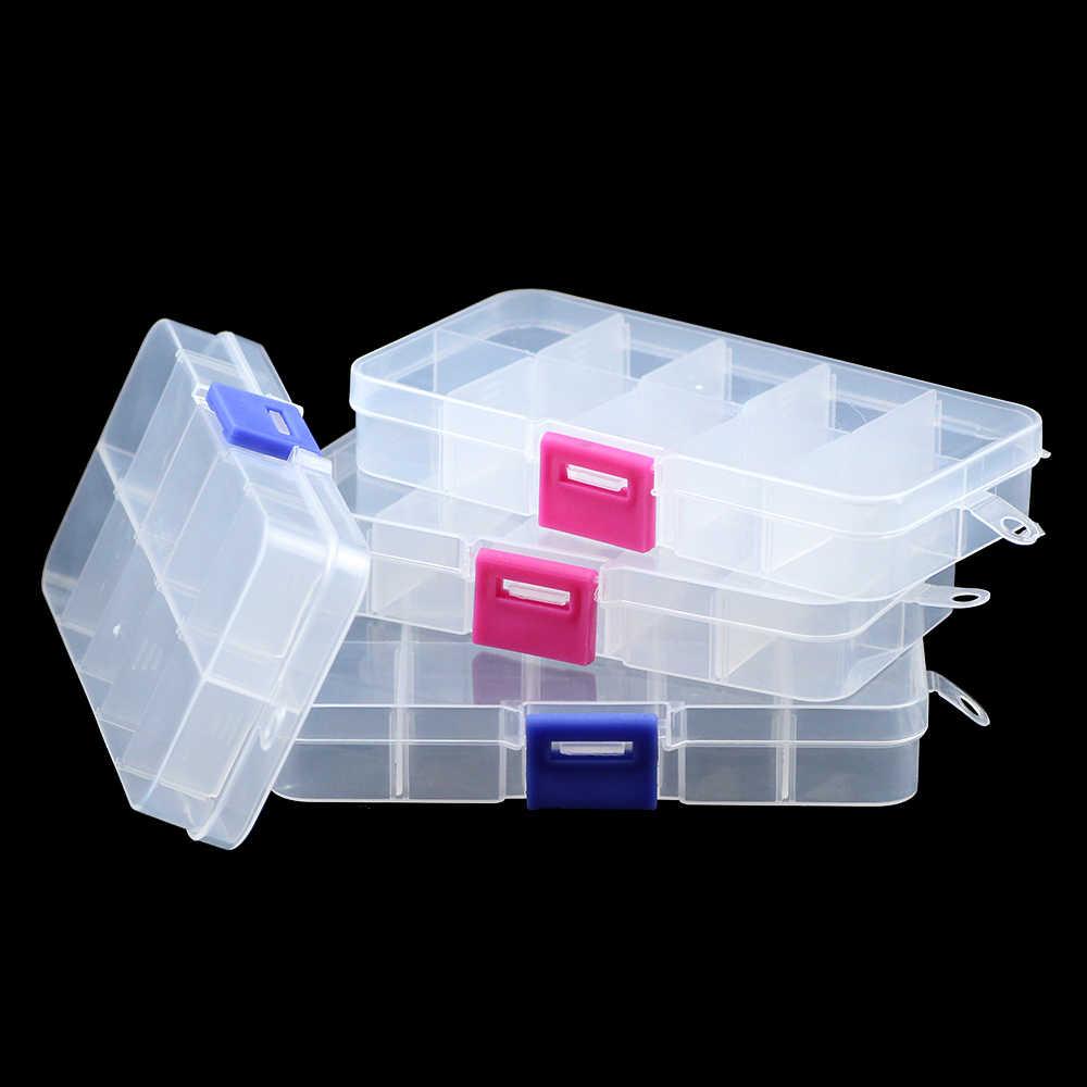 JHNBY قابل للتعديل 10 فتحات مقصورة شفافة صندوق مجوهرات من البلاستيك حاوية حاوية للخرز أقراط خواتم علب الهدايا