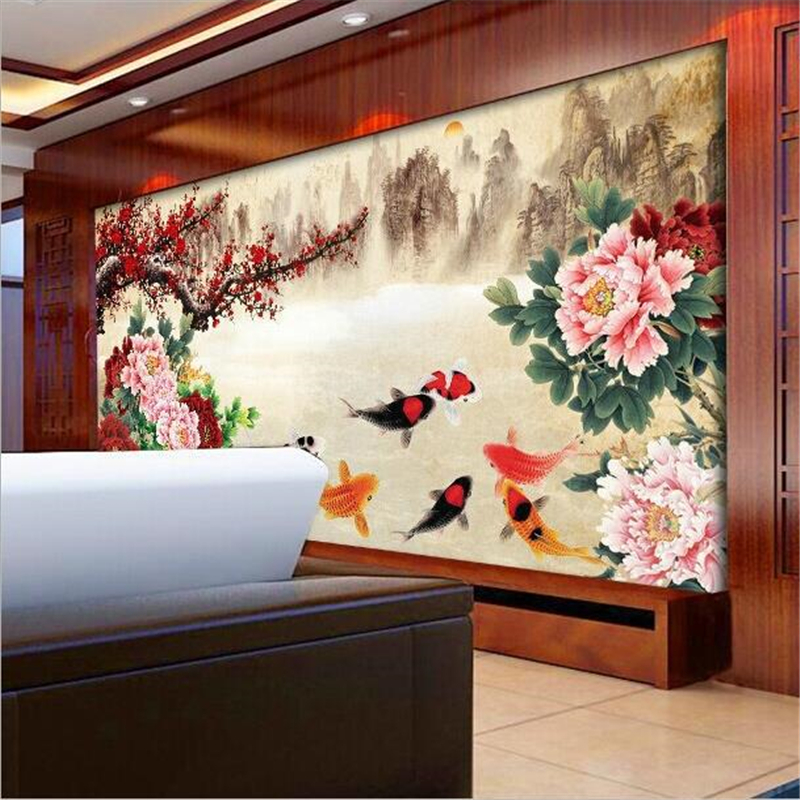Beibehang Big Fashion Custom Personalized TV Peony Wallpaper Mural Wall Mural Painted Background Wallpaper PAPEL De Parede