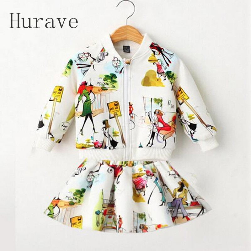 Hurave Girl Clothing Sest 2 PCS Children Clothing Set Kids Clothes Girls Clothing Winter Sport Suits